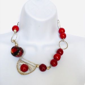 EXOTIC NECKLACE BOHO ARTISAN Sterling & Red Beads